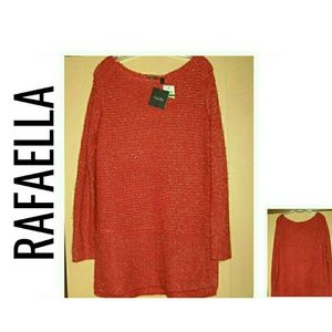 Red Sparkle Tunic Oversized Sweater NWT $65 M